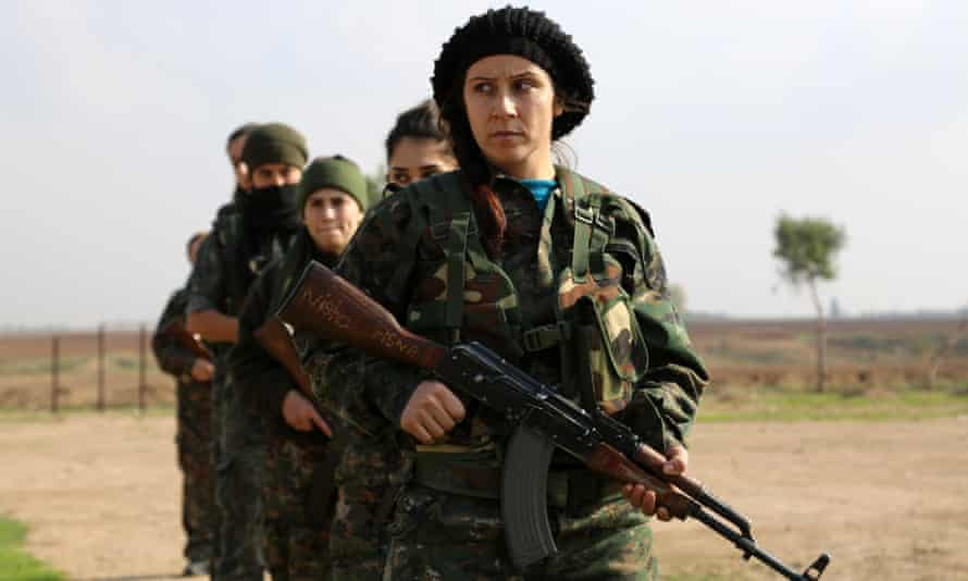 Syriac Christian women, part of a battalion of 50, training at a camp near the Syrian-Turkish border.