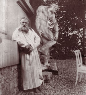 Auguste Rodincirca in the garden of his villa at Meudon, near Paris. Behind him is the original plaster statue of 'The Creation of Man