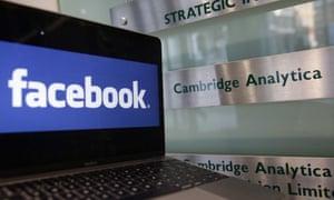 Facebook and Cambridge Analytica logos