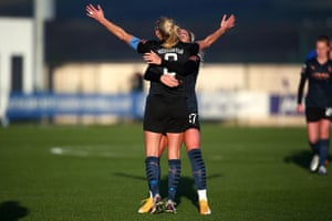 Steph Houghton of Man City celebrates with team mate Alex Greewood after scoring her second goal of the game.