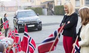 Princess Mette-Marit and greets children in Hokksund, Norway.