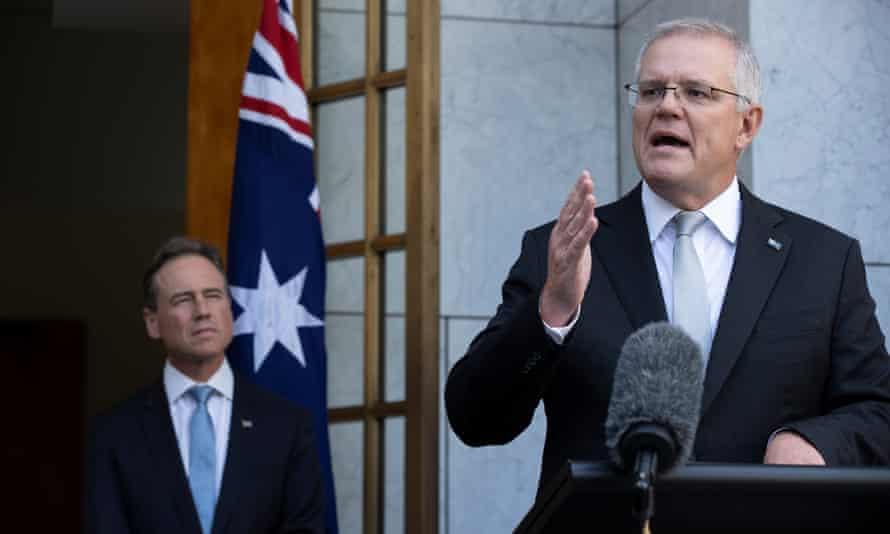Australian prime minister Scott Morrison and health minister Greg Hunt