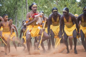 Members of the Gumatj clan, including Cedric Marika (front), formally open the Garma Festival with a traditional dance.