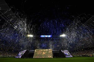 Fireworks and streamers are set off at the Santiago Bernabeu stadium in Madrid.