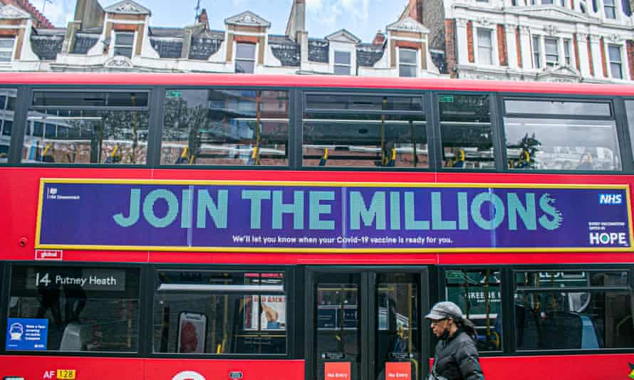 A London bus carries the message by the UK government to 'join the millions' having the Covid-19 vaccine