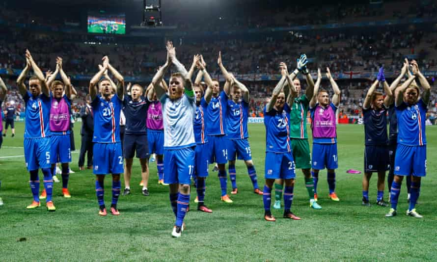 Iceland players celebrate their unlikely victory over England in Euro 2016