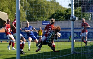 Chelsea's Bethany England scores her side's sixth goal.