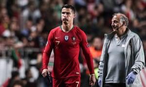 Cristiano Ronaldo leaves the pitch at Luz Stadium, Lisbon.