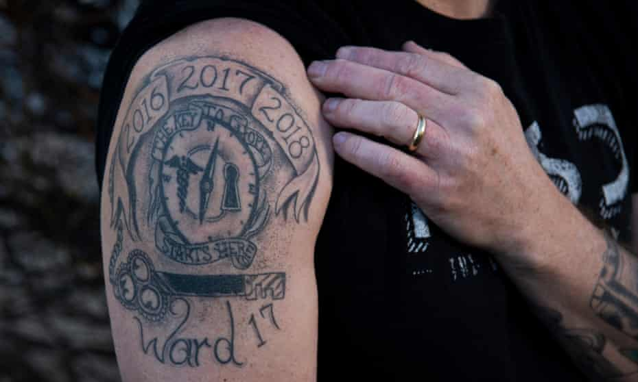 The tattoo on Yates' right shoulder
