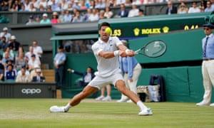 Novak Djokovic pictured in his Wimbledon quarter-final match against David Goffin.