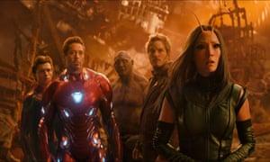 Tom Holland, Robert Downey Jr., Dave Bautista, Chris Pratt and Pom Klementieff in Avengers: Infinity War.