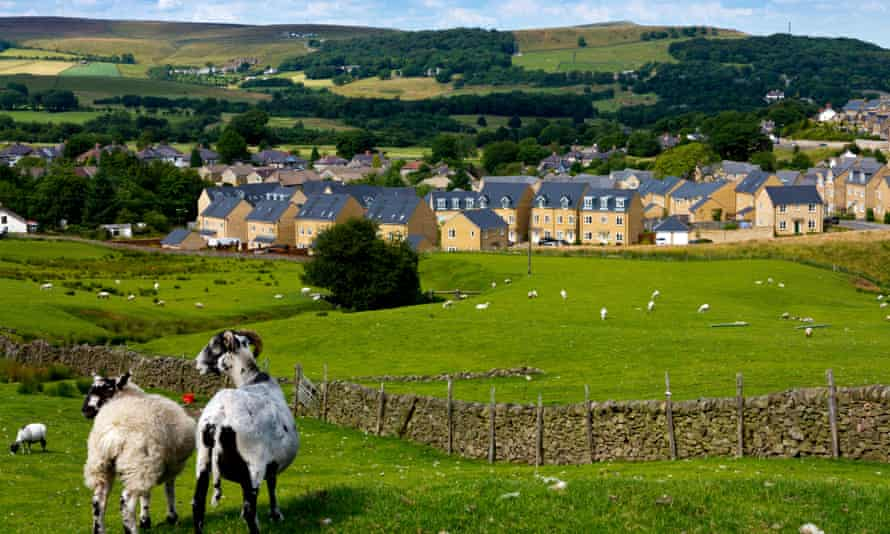 New housing estate on countryside on the outskirts of Buxton, in the Peak District.