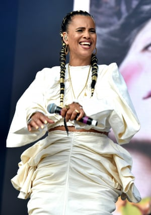 Fashion forward: Neneh Cherry in sculptural white ruched co-ords in 2019.