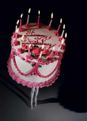 Walking Cake II (Color), 1989, by Laurie Simmons.