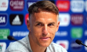 Phil Neville sports his new haircut in the England pre-match press conference.