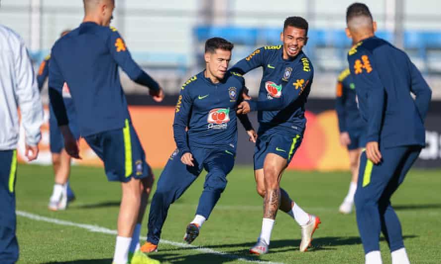 Brazil's Gabriel Jesus tries to halt Philippe Coutinho during training for the Copa América quarter-final against Paraguay.
