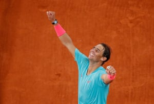 Nadal celebrates after winning the French Open final.