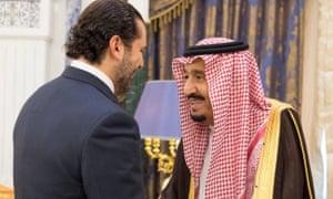 Former Lebanese prime minister Saad Hariri with Saudi King Salman in Riyadh.