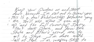 An excerpt from Evans's letter.