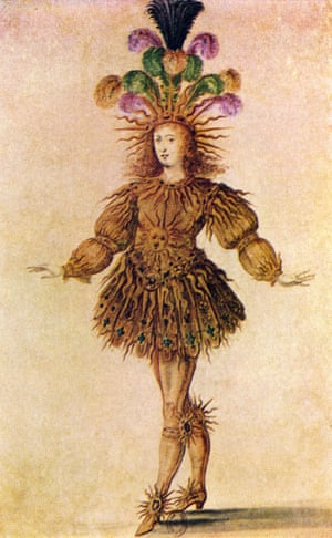 The ballet costume worn by Louis XIV as Apollo, the Sun God in Ballet Royal de la Nuit in the exhibition at the Kunstmuseum in The Hague.