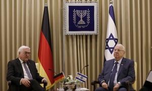 Israeli president Reuven Rivlin, right, meets Germany's president Frank Walter Steinmeier in Jerusalem ahead of the fifth World Holocaust Forum.