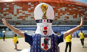 Fans in Saransk ahead of 2018 FIFA World cup match between Colombia and Japan<br>SARANSK, RUSSIA - JUNE 19, 2018: Team Japan's fan by Mordovia Arena Stadium ahead of the 2018 FIFA World Cup First Stage Group H football match between Colombia and Japan. Stanislav Krasilnikov/TASS (Photo by Stanislav Krasilnikov\TASS via Getty Images)