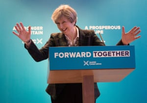 Theresa May during the launch of the Scottish Conservatives' manifesto at the Edinburgh International Conference Centre on Friday