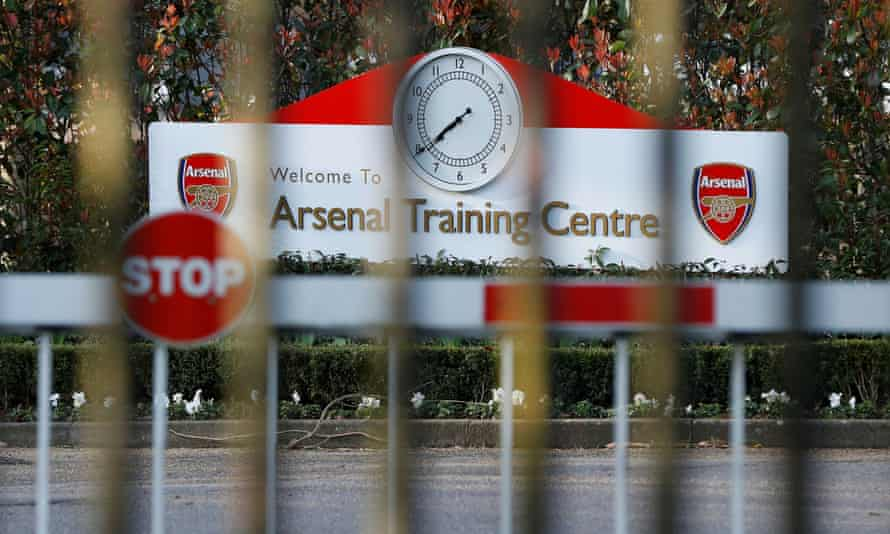 The gates are seen closed outside Arsenal's training ground on Friday morning.