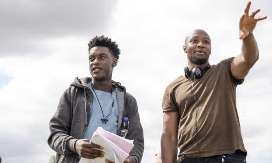 Shola Amoo (right) on set with Sam Adewunmi.