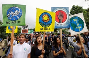 Environmental advocates take part in the strike in the Philippines.