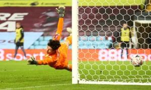Aston Villa's keeper Akos Onodi is beaten by Georginio Wijnaldum's shot to give Liverpool back the lead.