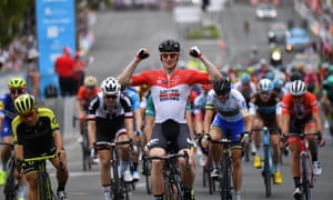 German rider André Greipel celebrates winning stage six of the Tour Down Under in Adelaide.