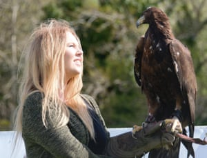 Sophie-lee Williams with a golden eagle.