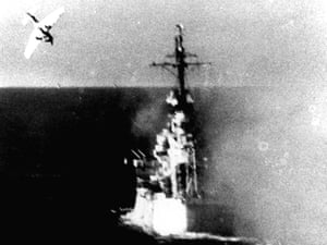 A Japanese kamikaze plane swoops on a US warship in 1944.