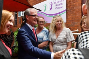 NSW Labor leader Michael Daley (centre) during a visit to the Women's Health Centre in Penrith.