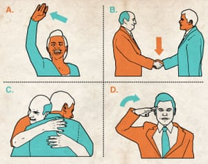 Illustrations of ways to greet