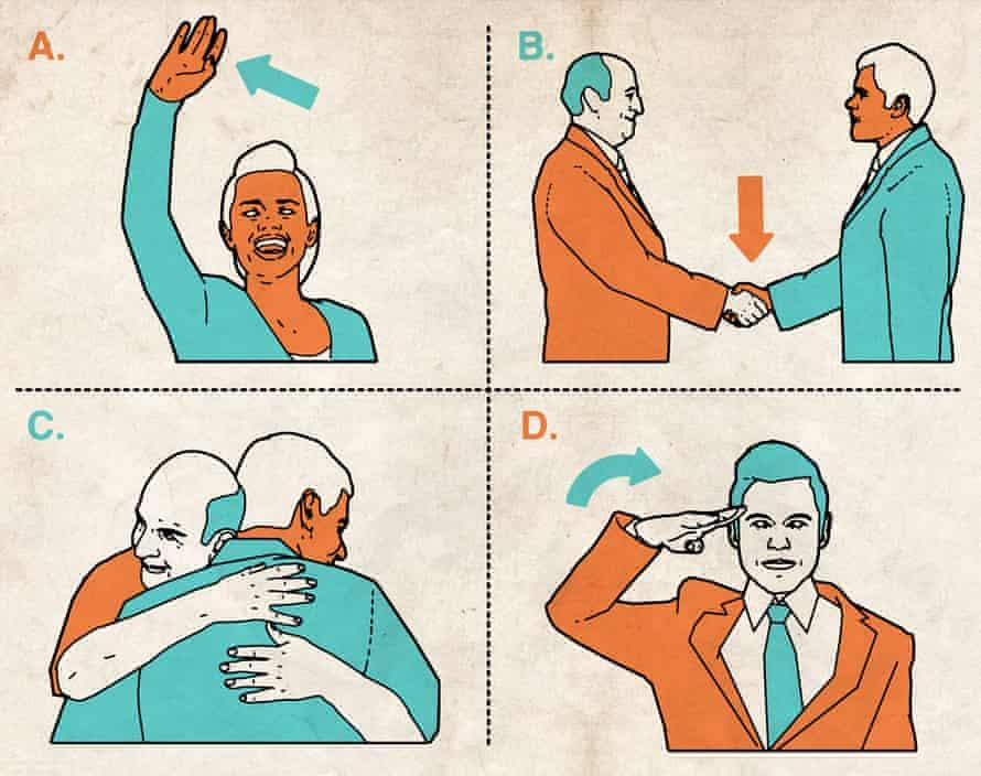 Illustrations of ways to greet