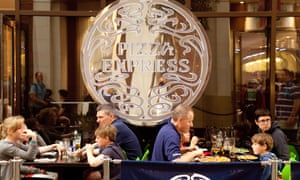 A Pizza Express restaurant at the O2 arena in London. The chain plans to focus on upgrading existing sites rather than adding new outlets.