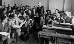 Friedrich Hayek teaching at the London School of Economics in 1948.