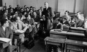 Friedrich Hayek teaching at the London School of Economics in 1948.