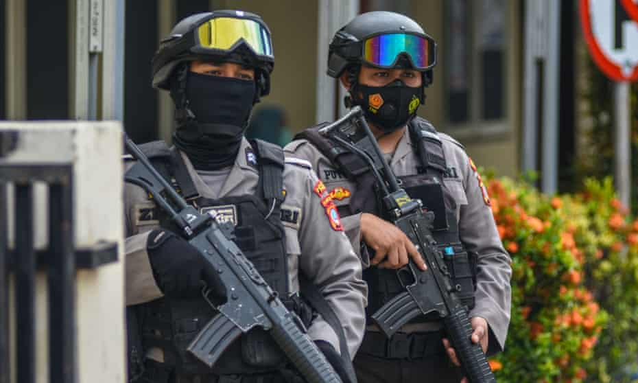 Armed police officers outside hospital