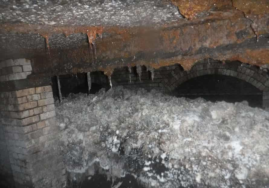 A fatberg in a sewer beneath Sidmouth, England, which which filled 36 tanker loads when it was removed. It was later analysed by University of Exeter scientists.