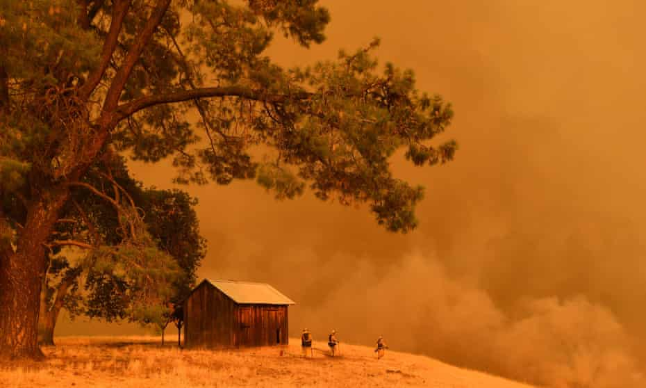 Firefighters watch as flames climb a hillside in Guinda, California, on 1 July 2018.