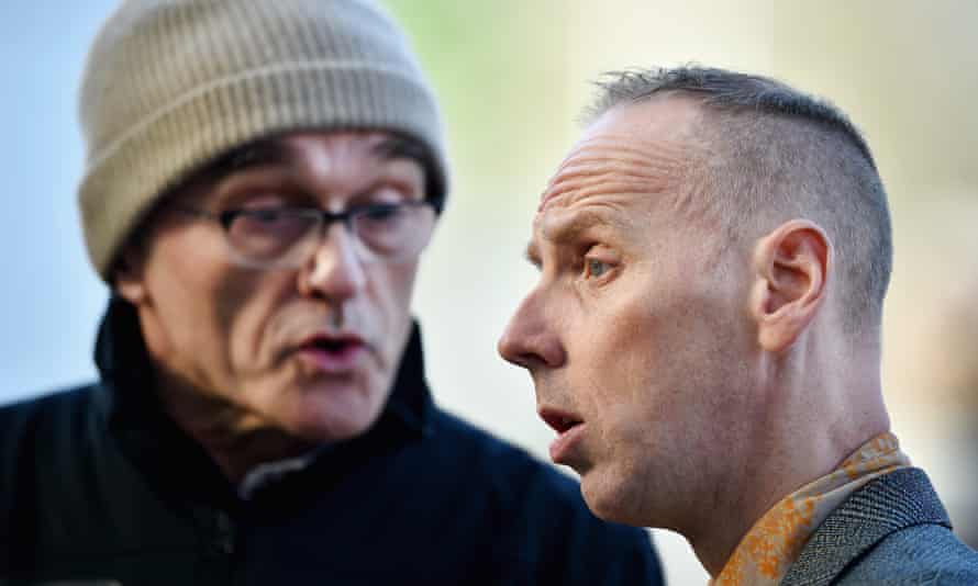 Danny Boyle, left, and Ewan Bremner filming T2 earlier this year.