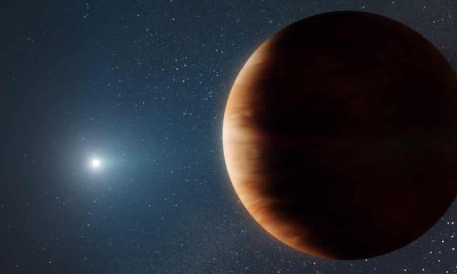 An artist's impression of a planet (right) orbiting a white dwarf star