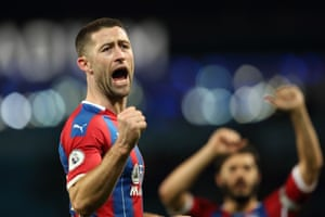 Crystal Palace's Gary Cahill celebrates at full time.