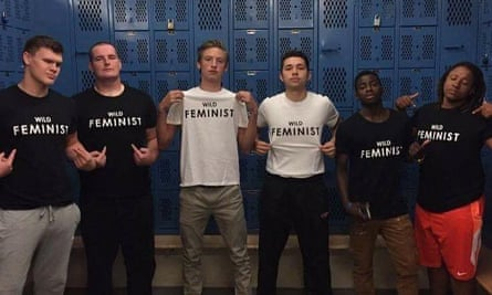 Centennial High Schoo, Oregon A picture of basketball, football, soccer and cross country athletes in a locker room at the Gresham school, wearing shirts that say