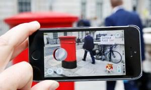 Spearow, a Pokémon character appears in a London street.