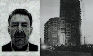 A page from the investigators' file showing Sergei Korobeinikov and the block of flats from which he fell to his death.