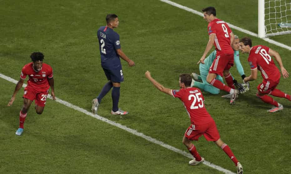 Kingsley Coman celebrates after scoring what proved to be the winner with a far-post header.